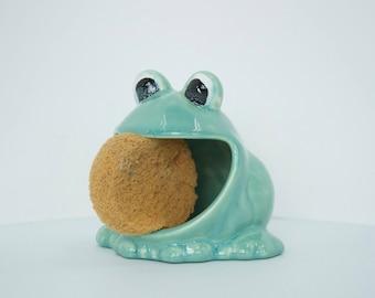 Frog Sponge Holder, Kitchen Decor, Frog Kitchen Decor, Bathroom Decor, Kids Bathroom, Handmade Sponge Holder, Ceramic Frogs, Modern Pottery