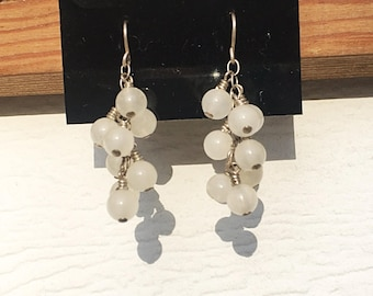 Opaque Quartz Sterling Silver Cluster Earrings