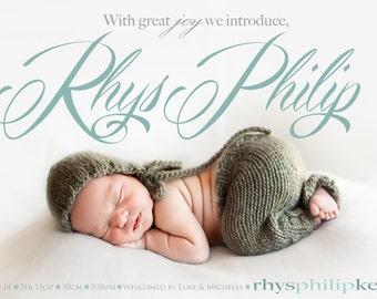 Photo baby boy birth announcement -  custom baby announcement - joy introduce - boy or girl