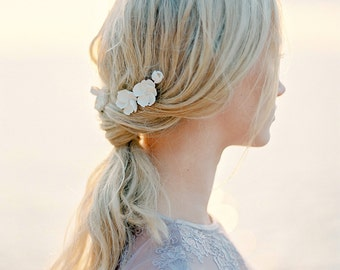 "Bridal headpiece-Bridal hair pins- Floral headpiece- Clay floral- Hairpins- White headpiece- Opal headpiece- TWRA ""MALVA"" Hairpins"