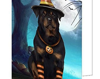 Happy Halloween Trick or Treat Rottweiler Dog Candy Corn Set of 10 Greeting Cards