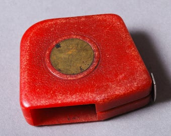 Vintage  metal tape measure, ruler, measuring tool, 1 meter