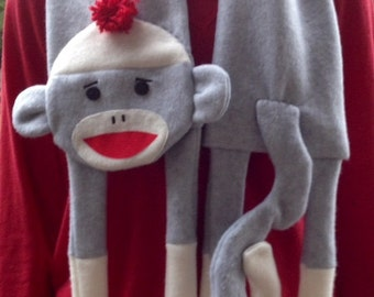 Sock Monkey Scarf PDF  instant download Sewing  Pattern, easy fun kids fleece monkey full sized sewing pattern, color pictures, button eyes