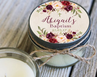 12 - 4 oz Baptism Favor//First Communion Favor//Soy Candle Favor//Personalized Baptism Favor//Shower Favor//Fall Baptism//Floral