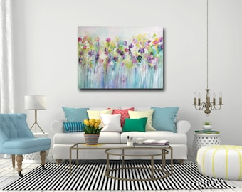Good Large Wall Art, Canvas Art, Abstract Floral Canvas Print, Giclee Print,  Large