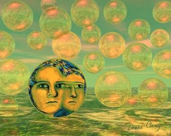 Digital Painting - Consciousness - Gold and Green Awakening - Art Card, ACEO