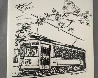 "New Orleans Streetcar on St.Charles Ave. 6"" x 6"" Porcelain Trivet"
