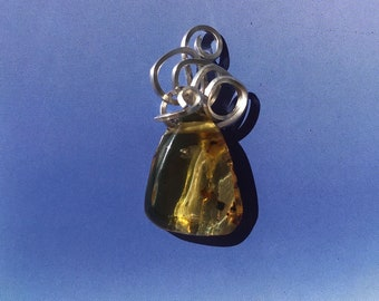 Amber Insanity! Sterling Silver Square Wire Wrapped Natural Amber Pendant