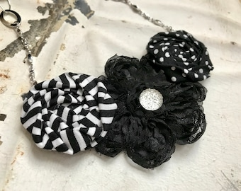 Black&White  Fabric Flower Statement Necklace,Bib Necklace,Rolled Rosette Statement Necklace,Fashion Necklace, Bridesmaid Gift, Bridal Party