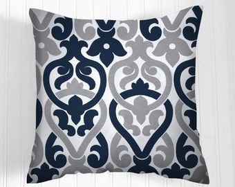 Navy Decorative Throw Pillow Cover, Blue .Cushion Covers Pillow Home Decor front & back - Accent Pillow  Decorative