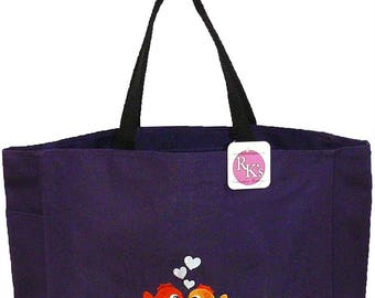 Kissing Fish & Heart Bubbles Monogram Bag Purple READY TO SHIP! Essential Custom Embroidered Tote