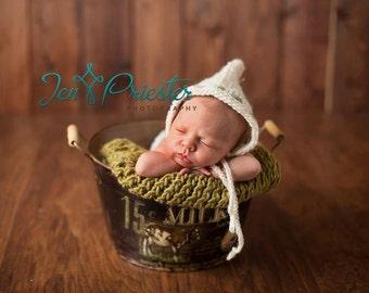 Newborn Bonnet, Baby Bonnet, Newborn Photo Prop, Newborn Knit Hat, RTS