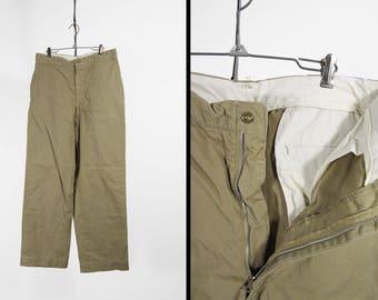 Vintage US Army Khaki Chinos Twill Pants Cotton Military Trousers - 32 x 30