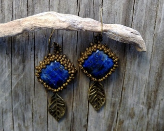 Beaded Statement Earrings - Bead Weaving Jewelry - Dangles - Lapis Cabochons - BOHO
