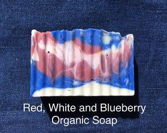 ORGANIC Bar Soap — Red, White and Blue PATRIOTIC Soap / Handmade Soap / Natural Soap / Artisanal Soap / Blueberry Soap / Decorative Soap Fun