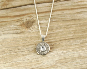 Bullet Necklace / Winchester Sterling Silver Nickel 40 Caliber Custom Bullet Head Necklace with Box Chain WIN-40-N-SBHN / Custom Necklace