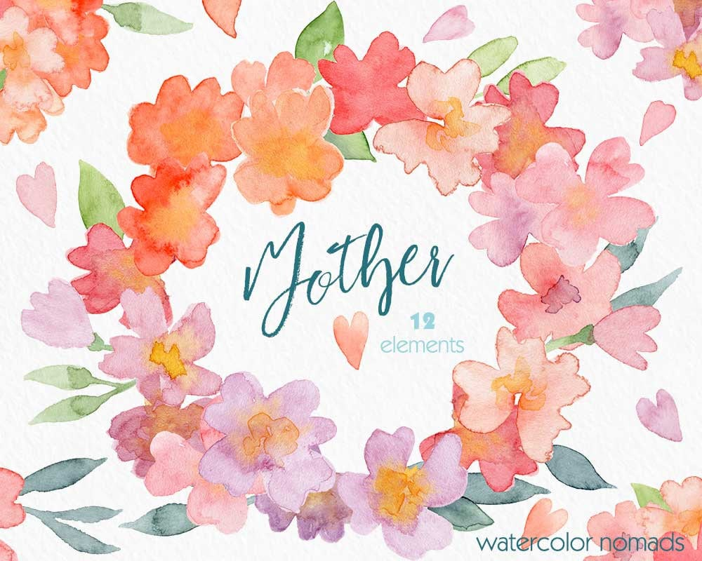 Flower Watercolor Clipart Mothers Day Clip Art Spring