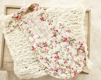 Vintage Inspired Floral Romper - Fabric - Newborn, Sitter & 12-18 Month Sizes - Photography Prop