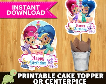Shimmer and Shine Cake Topper, Shimmer and Shine Printable Cake topper, Shimmer and Shine Birthday Party, Shimmer and Shine Centerpieces,