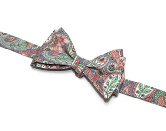 Blush and Gray Floral Paisley Bow Tie~Mens Self Tie Bow Tie~Mens PreTied~Anniversary Gift~Sage ~Floral Tie~Cotton Bow Tie~Wedding Bow Tie