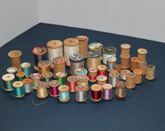 Wooden Thread Spools, Lot of 46 Vintage Wooden Spools of Thread, Craft Spools, Craft Supplies, Sewing Supplies