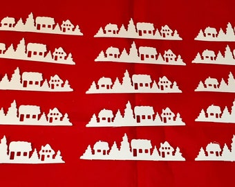Christmas Die Cuts * Christmas Town * 15 Pieces * White Cardstock or Kraft Cardstock * Cute Winter Scene! Add to Your Holiday Cards!