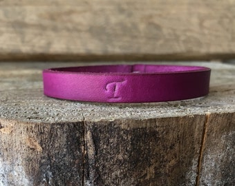 Lilac Purple Violet Leather Bracelet, Leather Bangle, Personalized, Leather Bangle Bracelet, Leather Bracelet Bangle, You Choose Color