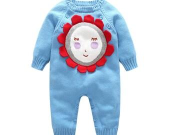 Baby Winter Romper Boy Girl Lovely Knitted Long Sleeves Light Blue