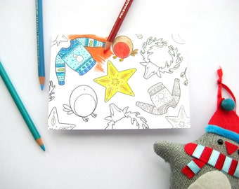 Christmas colouring card - jumper, robin, star and reindeer