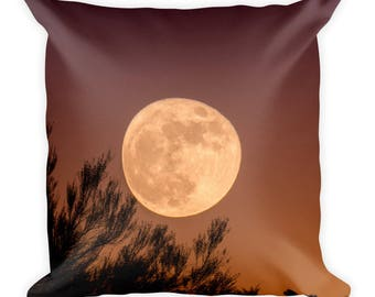 Square Harvest Moon Throw Pillow