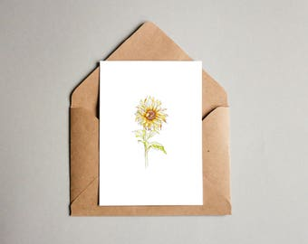 A6 Botany Greeting Card - Sunflower