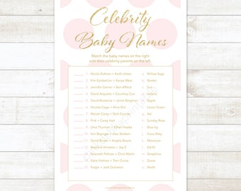 pink and gold celebrity baby names baby shower matching game card pink and gold glitter baby shower digital game - INSTANT DOWNLOAD