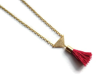 Raspberry with sequin red tassel and gold triangle necklace