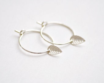 Tiny leaf hoops earrings - sterling silver drop earrings - small leaf drops - delicate small hoops - delicate earrings - simple jewelry edor