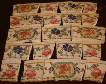 Mosaic Tiles Vintage 100 Roses/Flowers w Yellow Background  Broken Plates Tessera