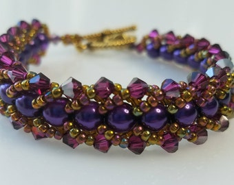 Flat Spiral Bracelet in Purple,Fuchsia & Gold