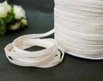 "10yds - 200 yds Beige Cotton Tape Twill Tape Flat Cord 3/16"" 5mm width best for Hanger Loop, Shoulder Loop TR4"