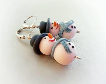 Snowman earrings Cute Xmas gift Winter Holiday earrings Snowmen jewelry Sicret Santa gift for Her Christmas Festive earrings Frosty jewelry