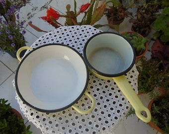 Pot and dish glazed yellow clear