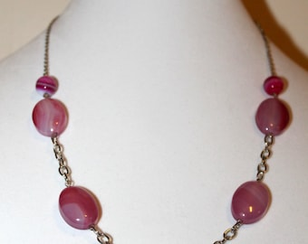 Pink Agate Stone and Silver Chain Necklace