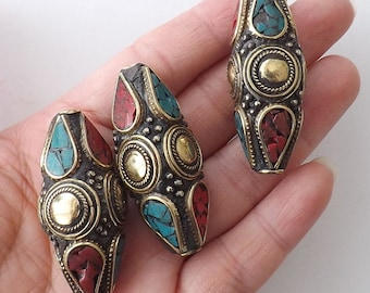BIG Bicone pendant -45mmX18mm Nepalese Beads with Brass & Coral,Turquoise Inlaid