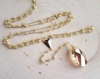 Yellow Zircon and Swarovski Rosary