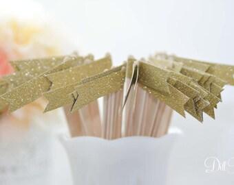 25 Gold Glitter Paper Flag Stir Sticks or Drink Stirrers
