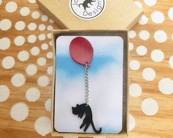 Cat Lapel Pin, Cat Magnet, Cat with Red Balloon Pin or Magnet, Black Cat Pin, Whimsical Animal Pin, Cat Magnet, Balloon Magnet