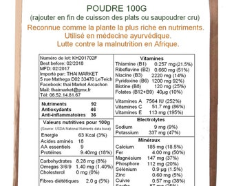MORINGA powder 100g organic Organic marum powder