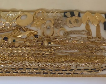 Large Lot of Vintage 1980's Gold Toned Jewelry - Necklaces, Bracelets, Brooches & earrings - Close to 4 Pounds