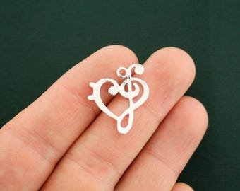 2 Music Charms Antique Silver Tone Treble Clef and Bass Clef in a Heart Design - SC5769