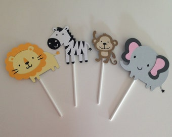 12 Jungle Animal Cupcake Toppers | Jungle Party Decor | Lion, Elephant, Monkey and Zebra Cupcake Toppers | Safari Cupcake Toppers