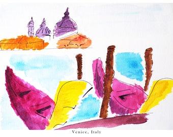 Watercolour of Venice, Italy with Gondolas