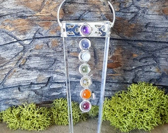 Crystal Quartz 7 Chakra Pendant -  stone jewelry - 790